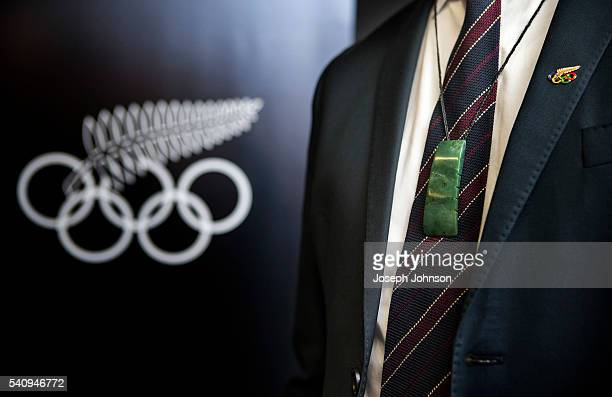 Pounamu carving being worn by Rob Waddell New Zealands Chef de Mission following the presentation by Ngai Tahu during the signing of the Memorandum...