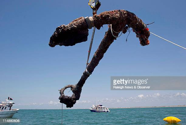 A 3000 pound anchor from Blackbeard's Queen Anne's Revenge is recovered from the ocean off the coast of North Carolina where it has been since 1718...