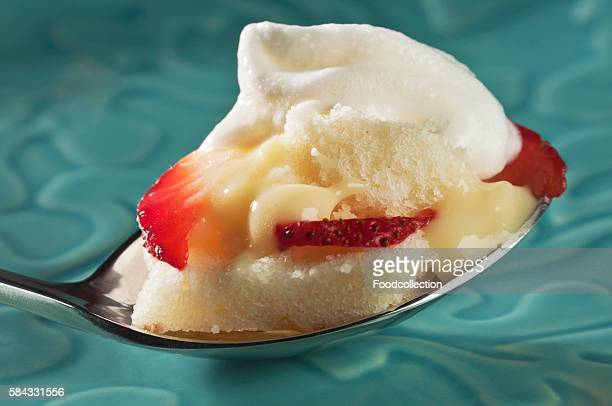 Pound Cake with Pudding Filling, Strawberries and Whipped Cream on a Spoon