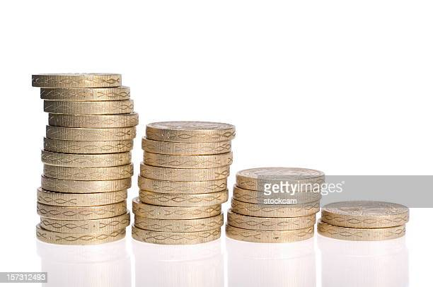pound coin graphic with colums on white - decline stock pictures, royalty-free photos & images