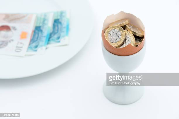 Pound Coins in an Egg Shell