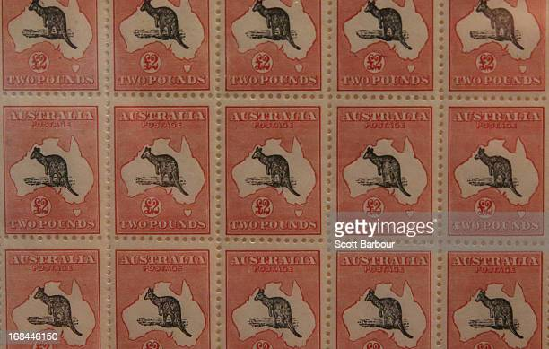 2 pound Kangaroo and Map stamps printed in 1934 sit on display at the World Stamp Expo on May 10 2013 in Melbourne Australia This year is the...