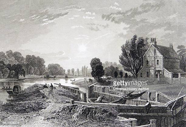 Pound lock on the River Thames at Teddington England Engraving London c1838