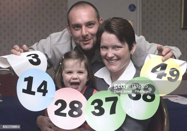 72M pound Lottery winner Stephanie Powell a bingo caller from Ebbw Vale with boyfriend Wayne Lawrence and their daughter 3 yr old Jessica after they...