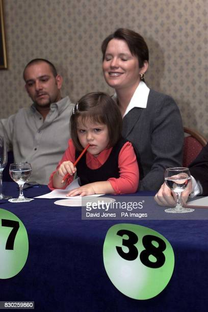 72M pound Lottery winner Stephanie Powell a bingo caller from Ebbw Vale and her boyfriend Wayne Lawrence collect their winnings as 3 yr old daughter...