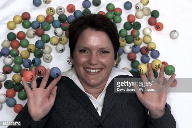 72M pound Lottery winner Stephanie Powell a bingo caller from Ebbw Vale celebrates after receiving her cheque in Cardiff