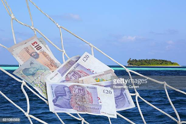 Pound notes in hammock with tropical island beyond