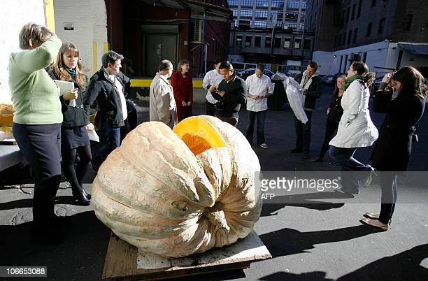 A 1426 pound pumpkin that was donated to City Harvest is displayed in front of Great Performances to be cut up by chefs to prepare original pumpkin...