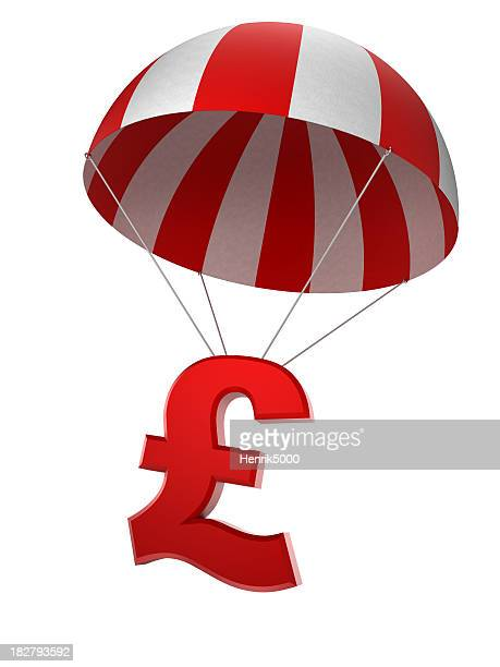 Pound sign in parachute - isolated with clipping path