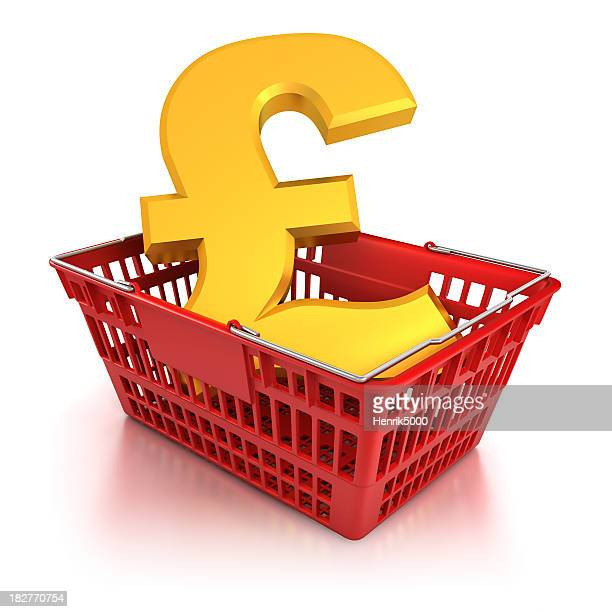 pound sign in shopping basket - isloated with clipping path - inflation stock photos and pictures