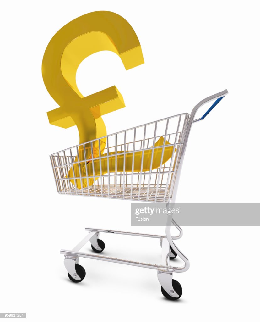 Pound symbol in shopping trolley : Stock-Foto