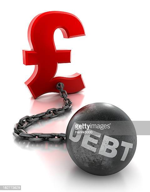 Pound tied to ball and chain of debt - isolated