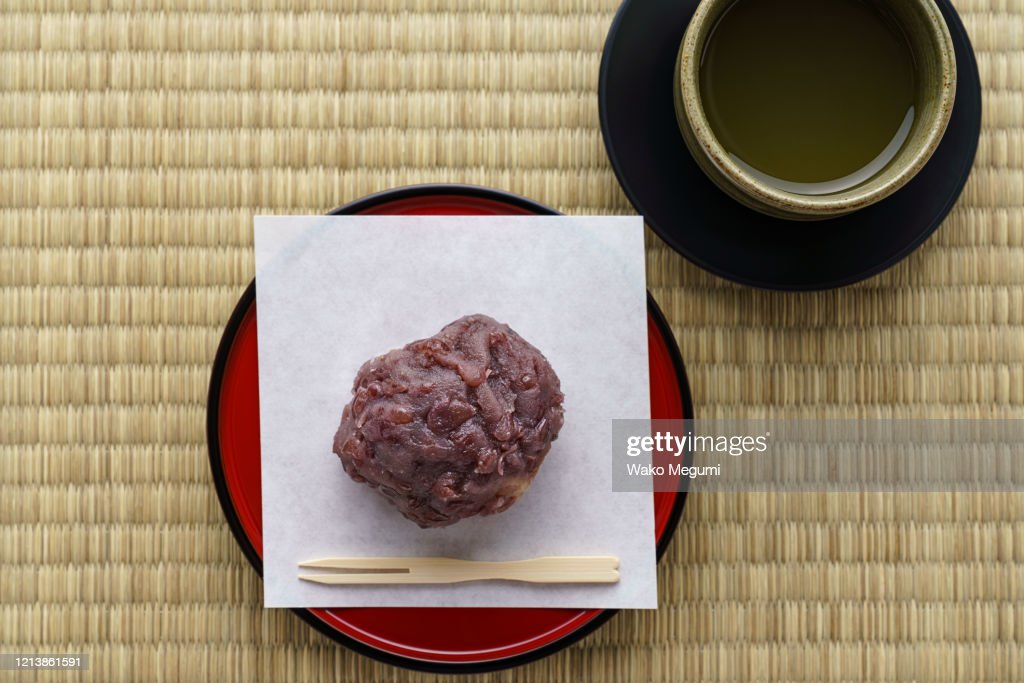 Pounded rice covered with bean paste, Japanese traditional sweet 'ohagi' : Stock Photo