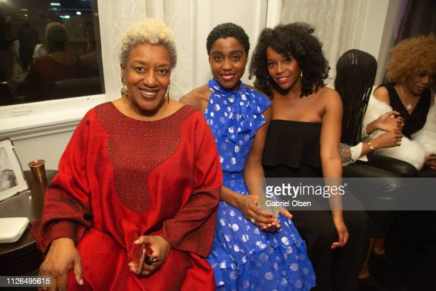 CCH Pounder Lashana Lynch and Aja Naomi King arrive for Morgan Stanley presents Alfre Woodard's 10th Annual Sistahs' Soiree on February 20 2019 in...