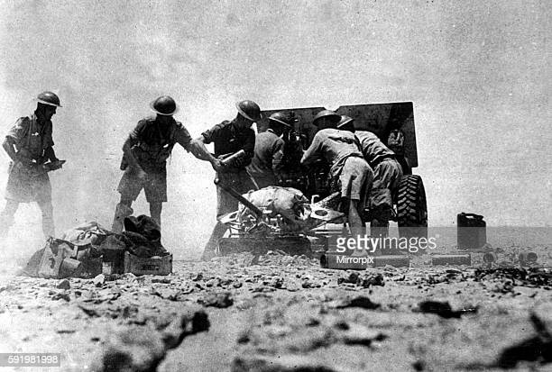 Pounder of the Royal Artillery seen here in an artillery duel with the Afrika Korps during the Battle for El Alamein in Egypt July 1942