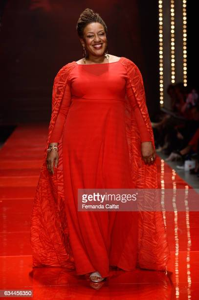 C C H Pounder walks the runway at the American Heart Association's Go Red For Women Red Dress Collection 2017 presented by Macy's at Fashion Week in...