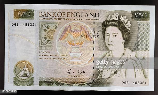 50 pounds banknote 19901999 obverse queen Elizabeth II England United Kingdom 20th century