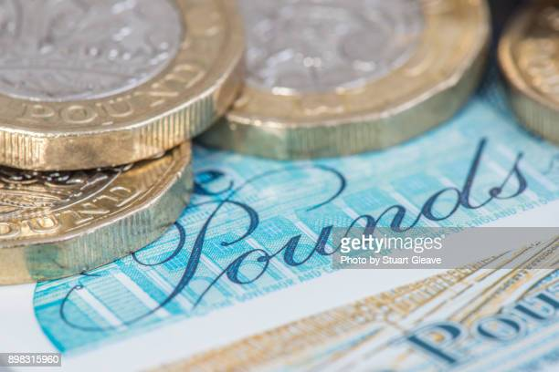 'Pounds' on English currency (£5 note)