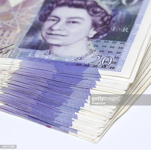 pounds - twenty pound note stock photos and pictures