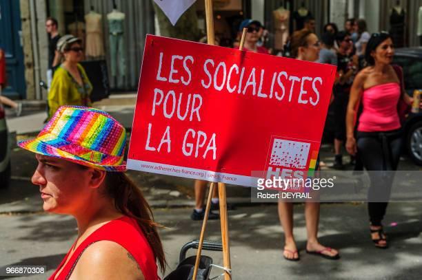 Pour sa 19ème édition la Gaypride lyonnaise a réuni plusieurs milliers de personnes solidaires de la cause homosexuelle le 14 Juin 2014 à Lyon France...