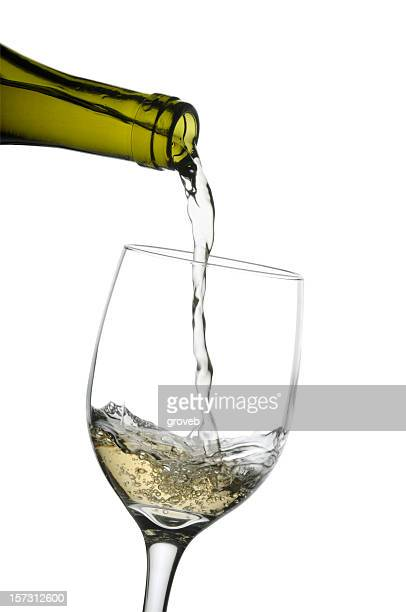 Pouring a glass of white wine w/clipping path