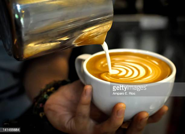 Pouring cappuccino