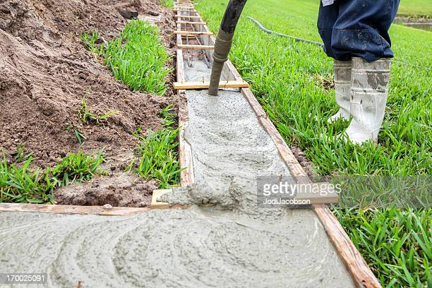 Pouring cement for a footer