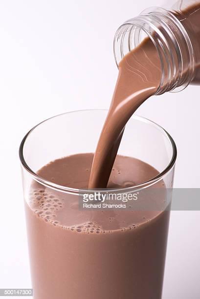 Pouring chocolate milk
