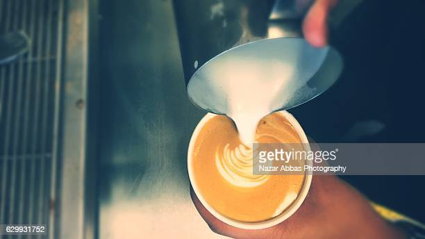 Pouring Coffee in Cup.