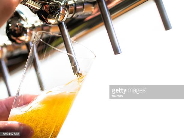 Pouring craft beer into a glass