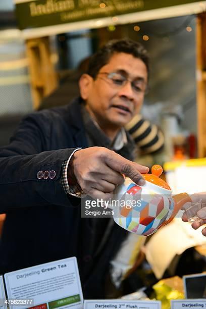Pouring Darjeeling tea at London Borough Market