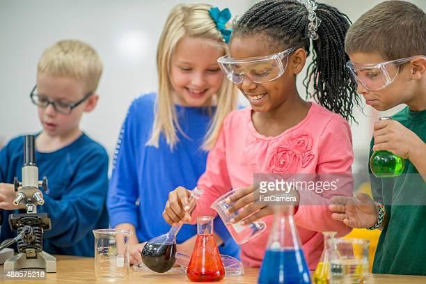 Pouring Liquid into Test Tube Beakers