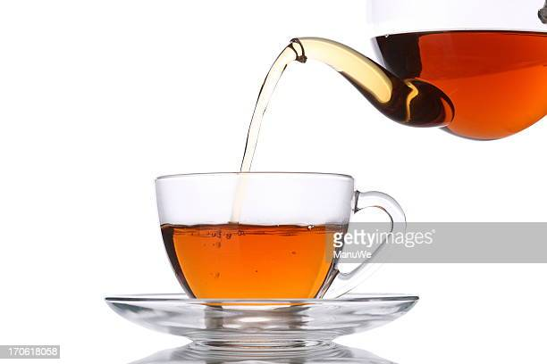 Pouring Tea into Glass Cup