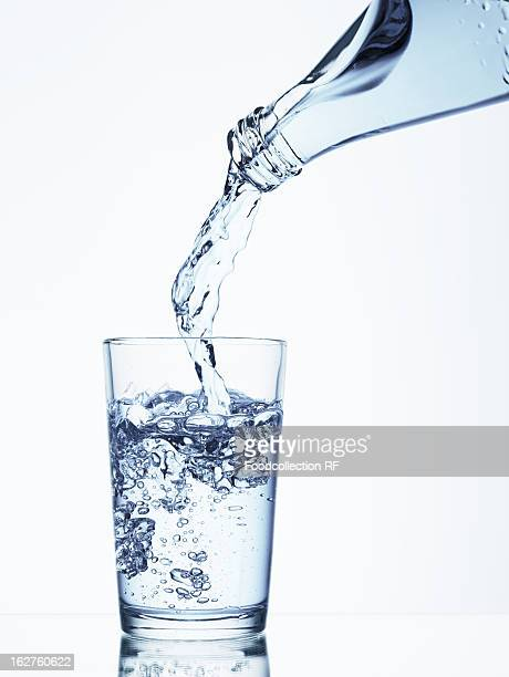 Pouring water from bottle into glass
