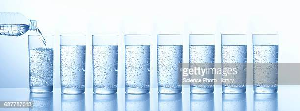 pouring water in glasses - mineral water stock photos and pictures