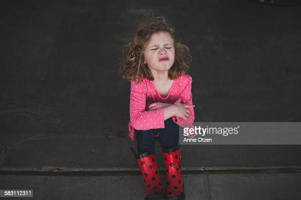 pouting little girl - tantrum stock photos and pictures