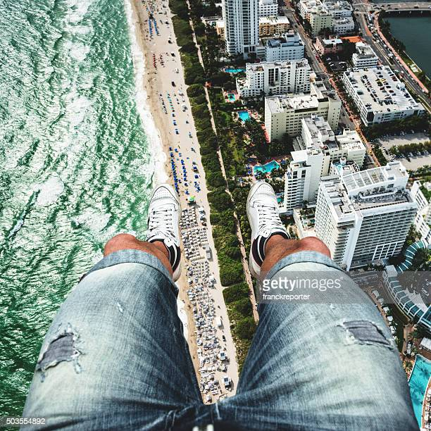 pov from the helicopter over miami