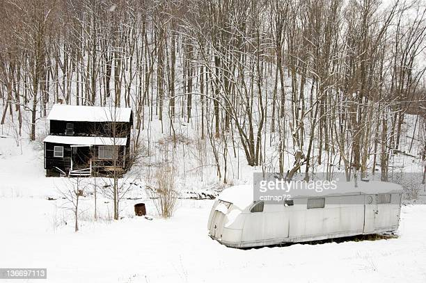 poverty shack and silver trailer home in appalachia america - redneck stock photos and pictures