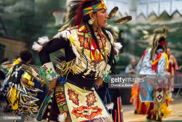 pow wow showcasing youth & talent - indigenous culture stock pictures, royalty-free photos & images