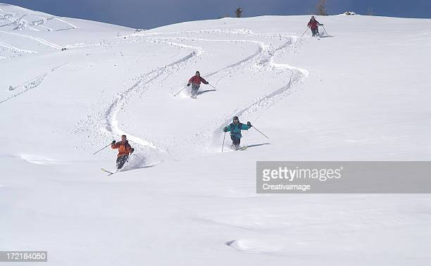 powder day - telemark stock pictures, royalty-free photos & images