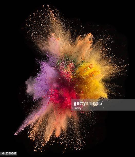 powder explosion - farbton stock-fotos und bilder