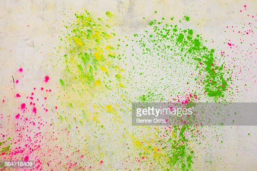 Powder Paints Spread On White Wall During Holi Festival Stock Photo ...