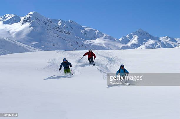 powder ski day - telemark stock pictures, royalty-free photos & images