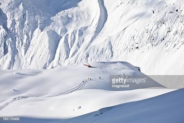 Powder Ski Tracks on Glacier