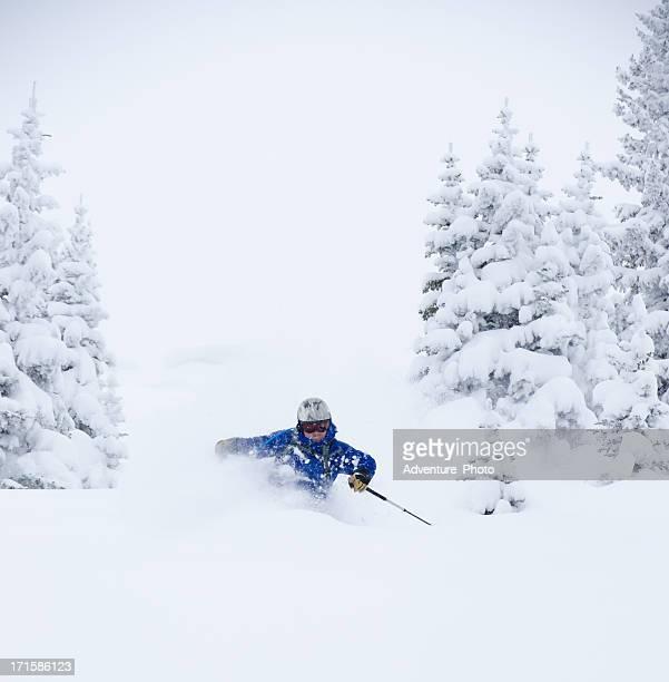 esquí de polvo en vial, colorado - vail colorado fotografías e imágenes de stock