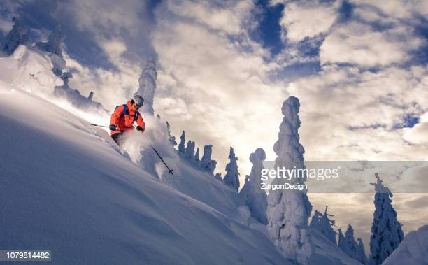 powder skiing - downhill skiing stock pictures, royalty-free photos & images