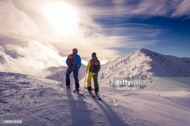 powder skiing - winter sport stock pictures, royalty-free photos & images