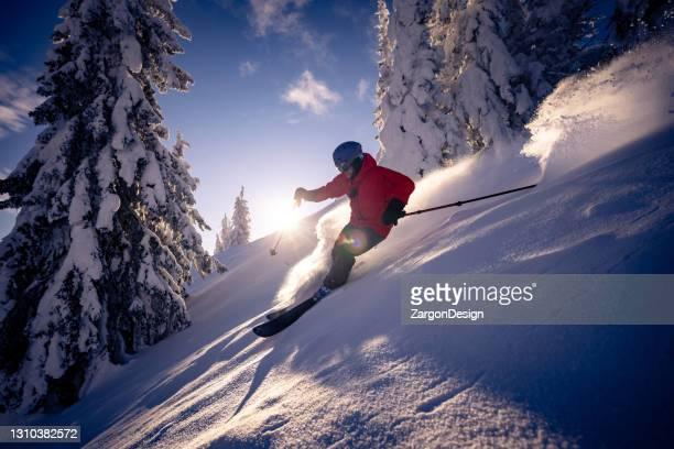 powder skiing - okanagan valley stock pictures, royalty-free photos & images