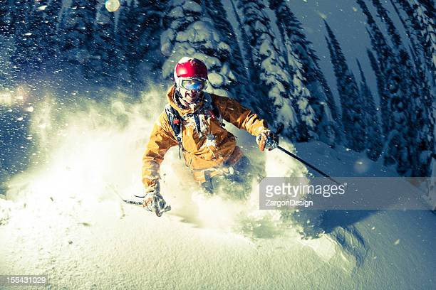 powder skiing - cross processed stock pictures, royalty-free photos & images