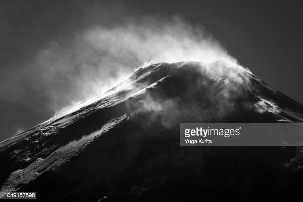 Powder Snow Blown Away by a Strong Wind at the Summit of Mt. Fuji